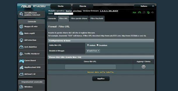 Filtro URL su router Asus