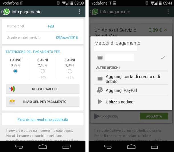 Pagare WhatsApp Android senza carta di credito