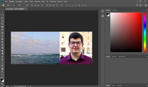 Affiancare due foto con Photoshop su computer