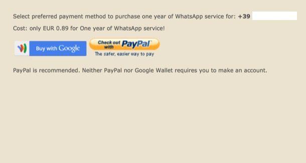 WhatsApp Android senza carta di credito