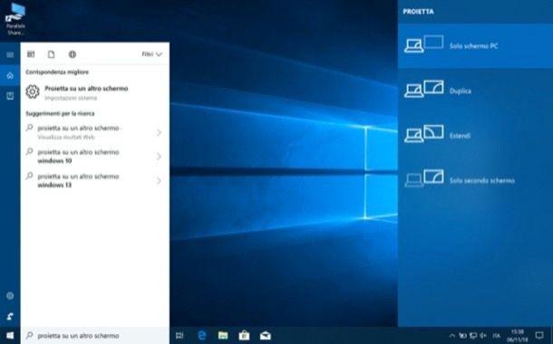 Proiettare schermo PC