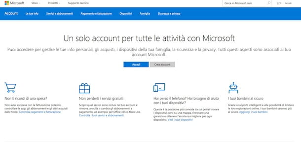 Come creare un account Microsoft