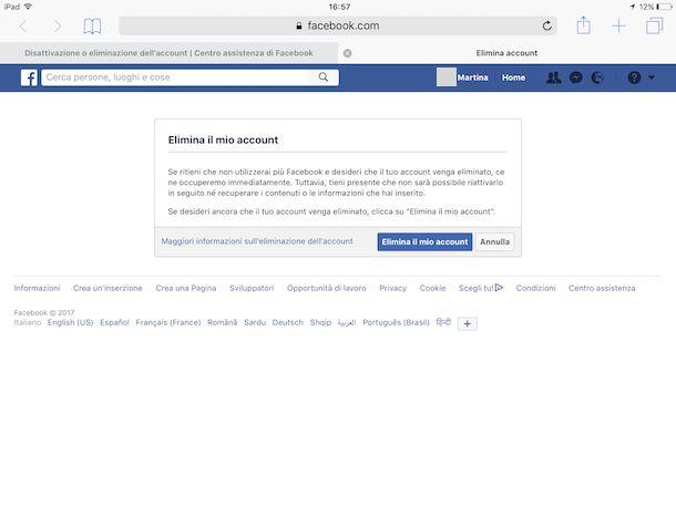 Come cancellarsi da Facebook Mobile