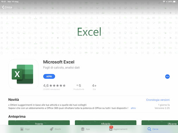 Excel App Store iPad