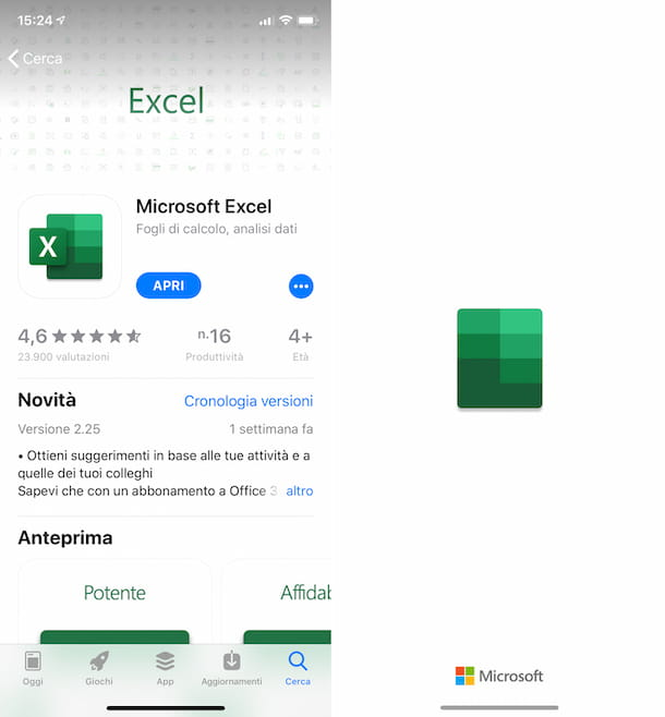 Excel su iPhone