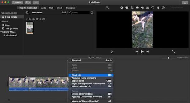 Dividere una clip su iMovie