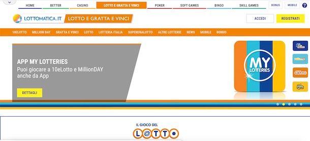 Giocare al Lotto online su Lottomatica