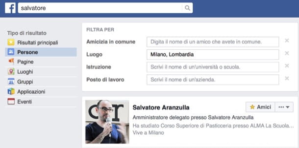Come cercare persone su Facebook per città
