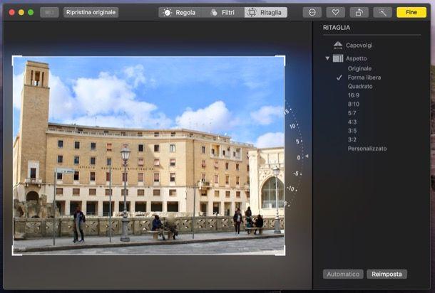 Funzione Ritaglia dell'applicazione Foto di macOS