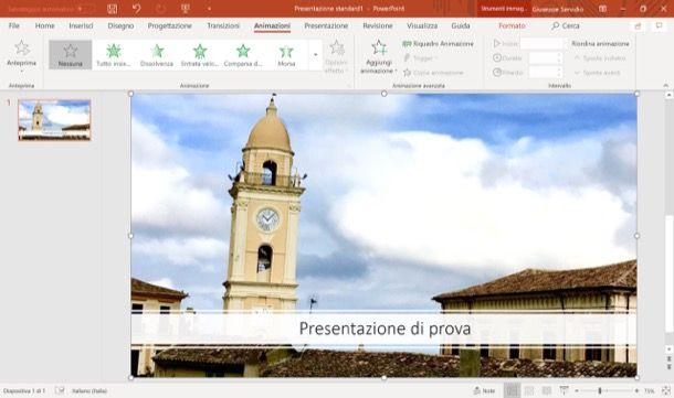 Scheda Animazioni di PowerPoint