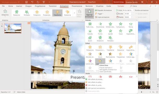 Aggiungere un'animazione a una immagine su PowerPoint