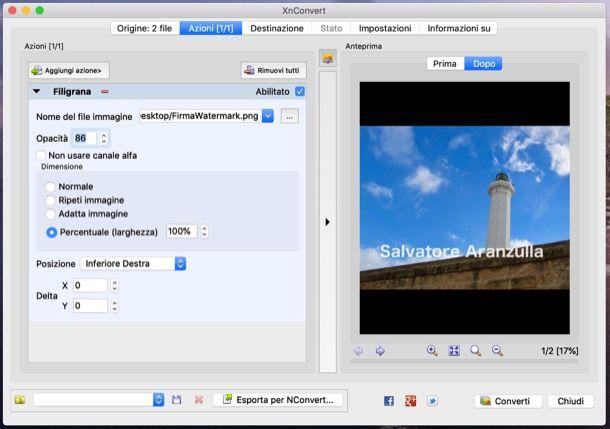 Applicare watermark alle foto con XnConvert