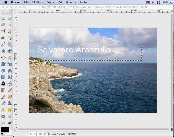 Firmare le foto con GIMP