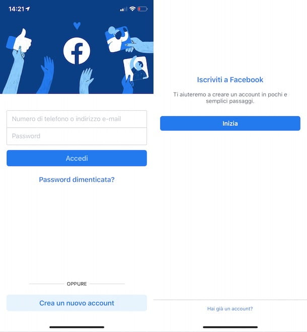 Creare account Facebook