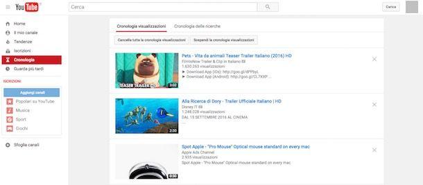 Come cancellare la cronologia di YouTube