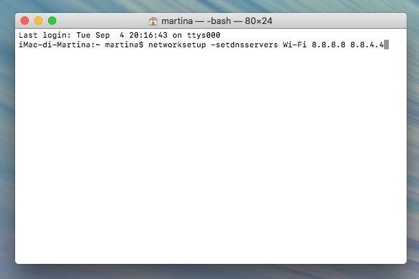 Come cambiare DNS su Mac