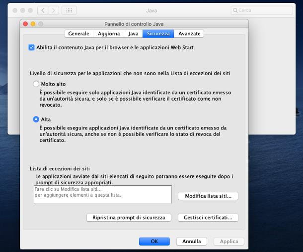 Come abilitare Java nel browser