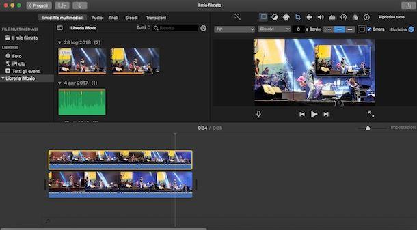 Sovrapporre video iMovie con PiP