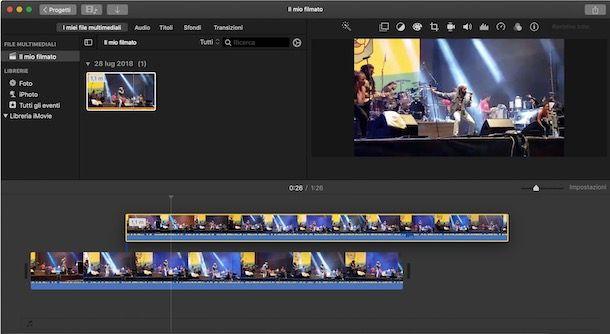 Sovrapporre video iMovie