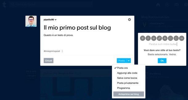 Creare un post su Tumblr