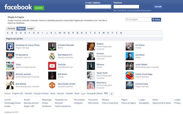 Come navigare su Facebook senza registrarsi