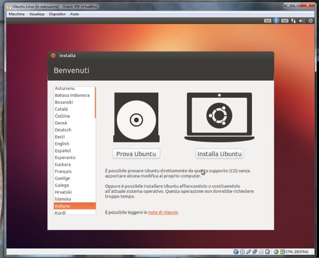 Come virtualizzare Ubuntu