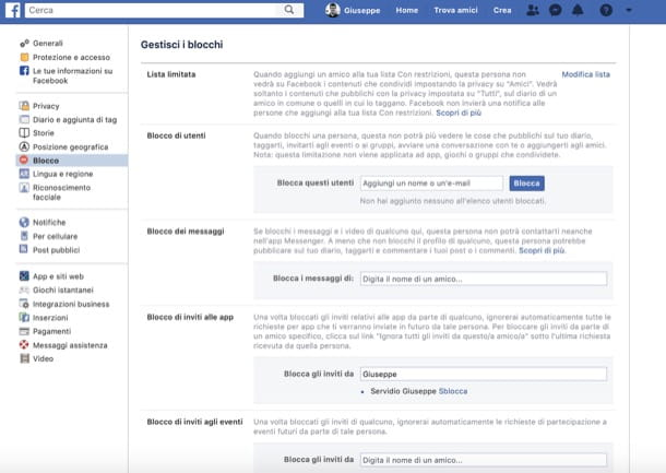 Blocco di inviti a giochi ed eventi Facebook