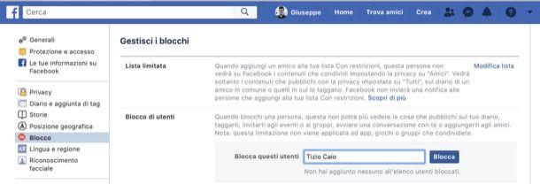 Bloccare una persona su Facebook da computer