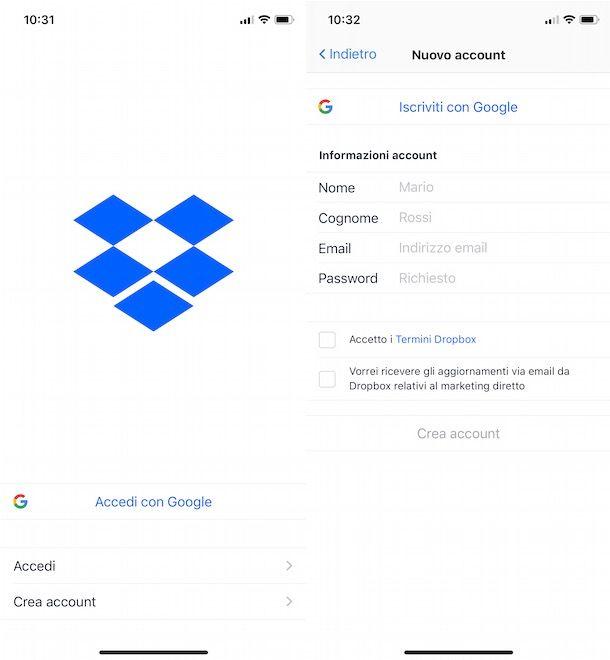 Come creare un account Dropbox da iPhone