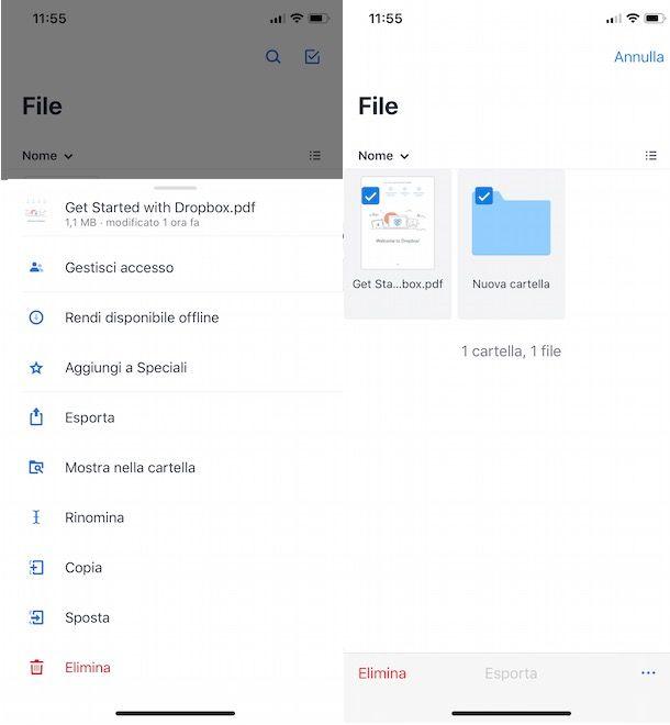 Eliminare file Dropbox