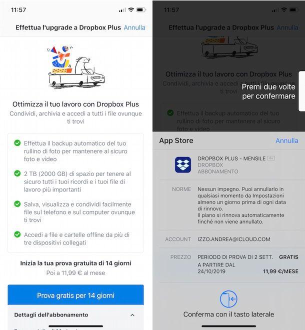 Come attivare Dropbox Plus da iPhone