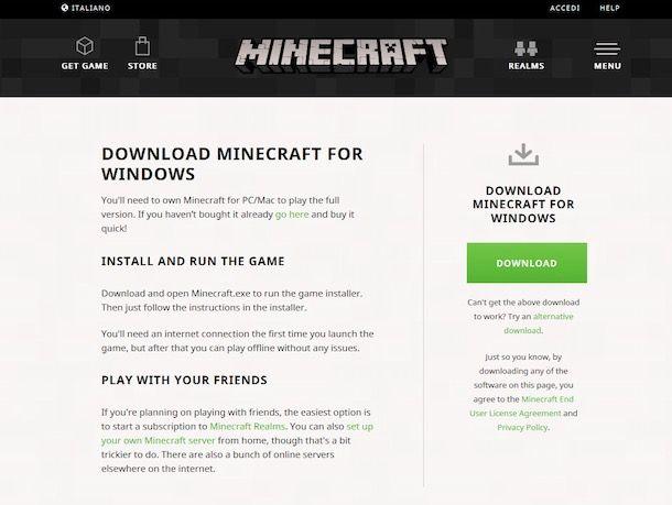 come scaricare minecraft gratis ita sul pc games