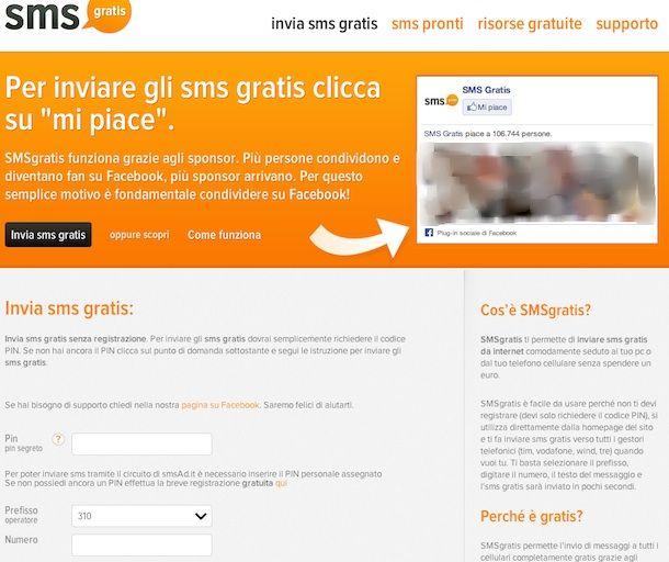 SMS GRATIS - Siti per Invio SMS GRATIS senza registrazione