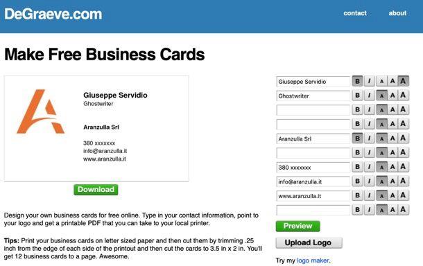 Se Preferisci Creare Biglietti Da Visita Gratis Stampandoli In Prima Persona Puoi Utilizzare Il Servizio Online Offerto DeGraeveche Consente Di