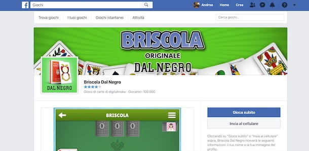 Giocare a briscola su Facebook
