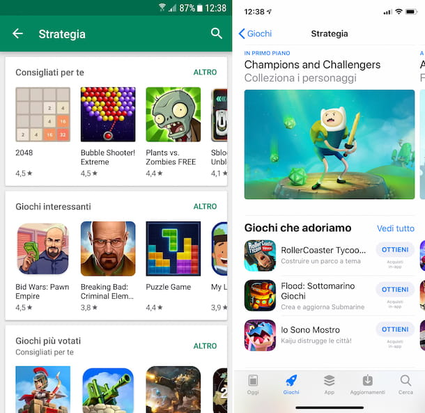 Screenshot dei giochi di strategia su Play Store e App Store