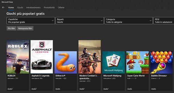 Scaricare giochi gratis dal Microsoft Store