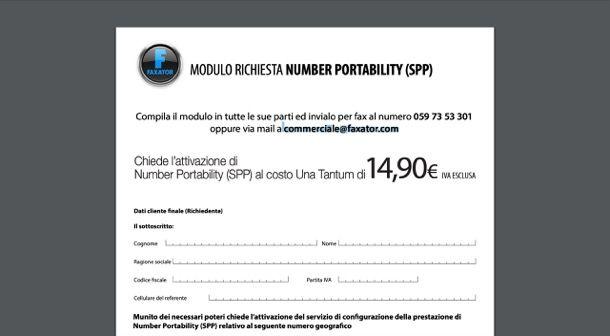 Portabilità fax online