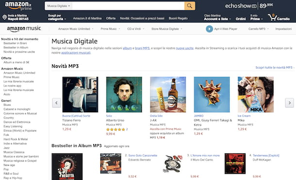 Store Amazon musica digitale