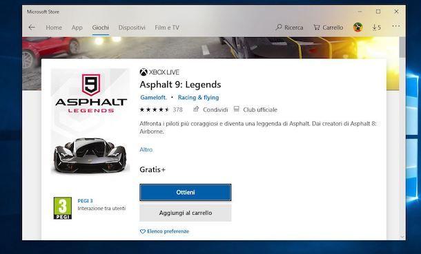 Giochi auto Microsoft Store