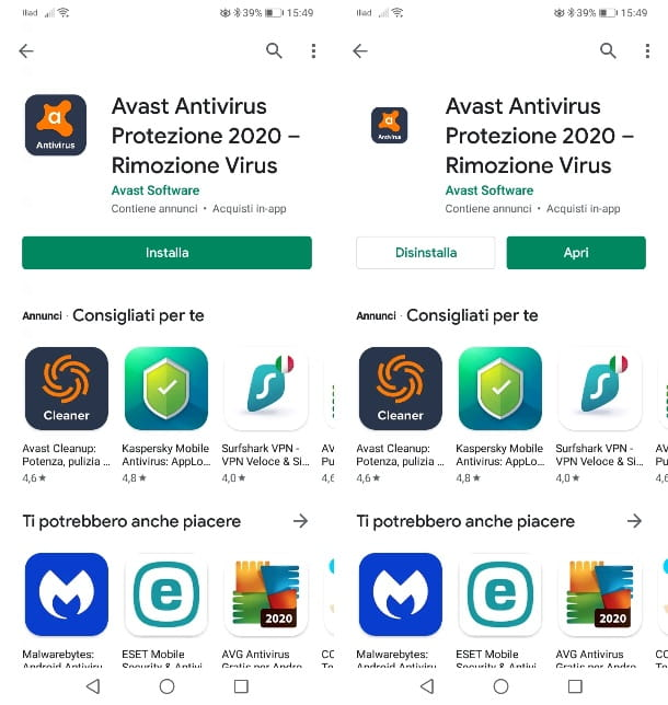 Installazione Avast Antivirus su Android