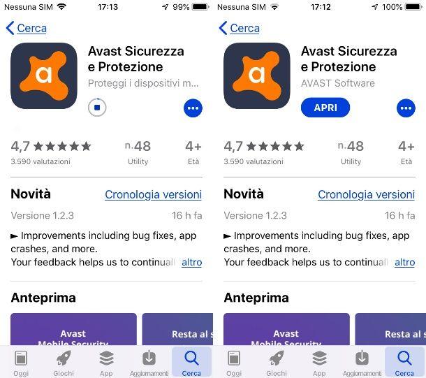 Installazione Avast Antivirus su iPhone