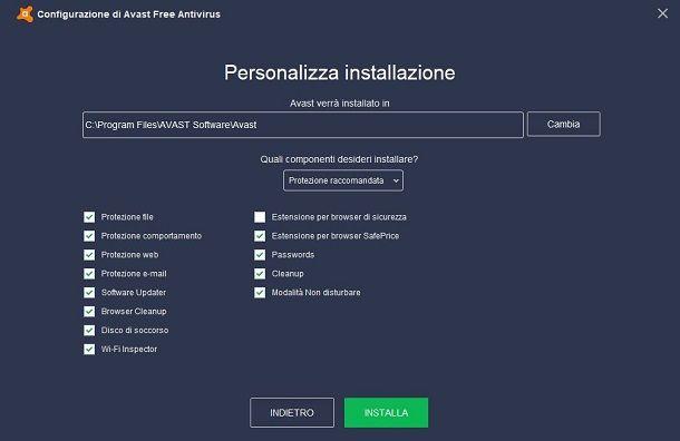 Installazione personalizzata Avast Antivirus su Windows