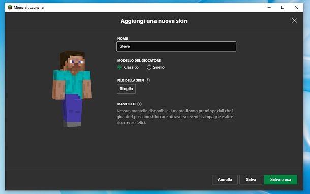 Caricare skin Minecraft Java