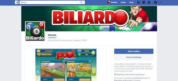 Giocare a biliardo su Facebook