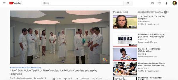 Guardare film su YouTube