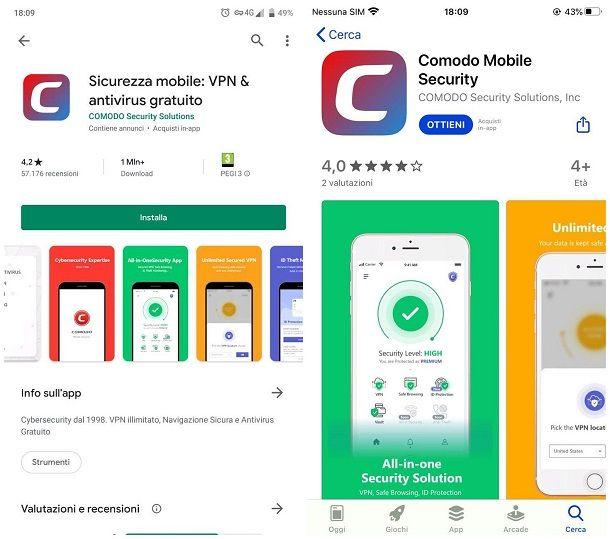 App di COMODO Antivirus Android e iOS