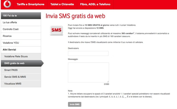 SMS gratis Vodafone