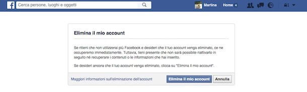 Cancellare account Facebook