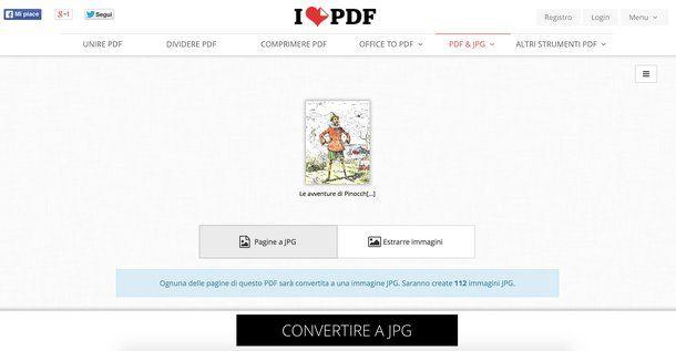 Convertire PDF in JPG